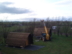Wigwams being installed at Springhill Farm
